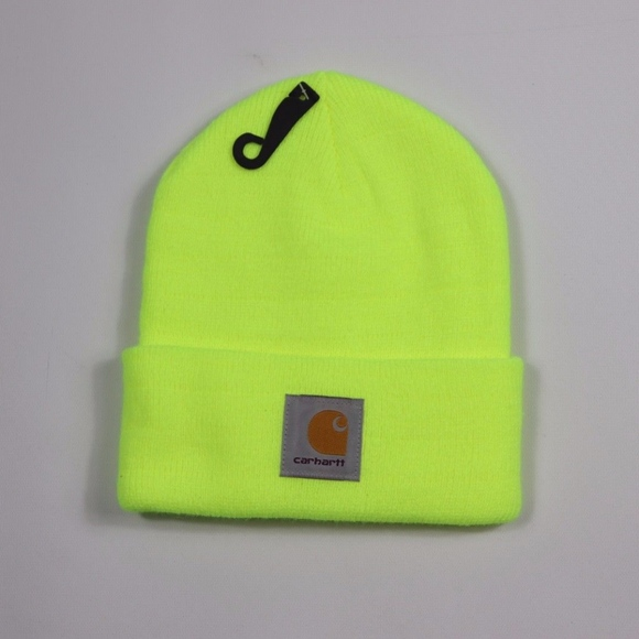 1c448c07d6378 New Carhartt Spell Out Winter Beanie Hat Neon Lime